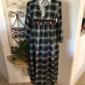 Zara boho plaid prairie dress with fringe detail